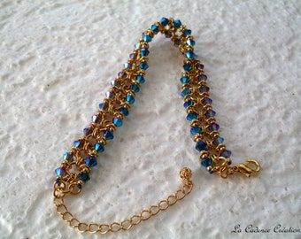Bracelet gold tone and swarovski crystals 2 colors