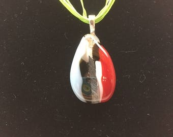 Fused Puddle Pendant, Red and Blue
