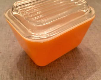 Pyrex Orange Refrigerator Dish 501- B with 501-C
