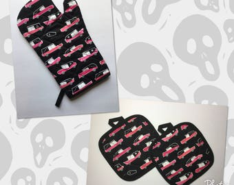 Pink Hearse Kitchen Oven Mitt and Pot Holders gift set   *Ready to Ship