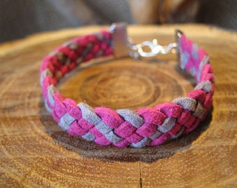 Braided bracelet 5 strands of Suede, grey and fuchsia