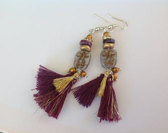 Earrings tassels ethnic Bohemian purple, purple and gold, mask face and pompons, silver metal hooks
