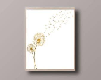 Wish Fairy Printable, Dandelion Print, Flower Print, Black and White Print, Minimalist Print, Nursery Print, Simple Home Decor