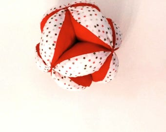 Montessori gripping ball, Star and red fabric