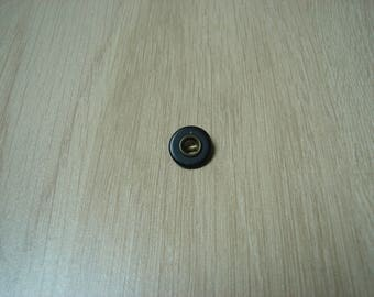 button two vintage brass material and plastic