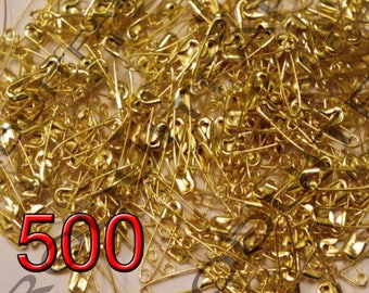 Set of 500 Mini pins for safety in Metal Golden 19 x 5 mm.