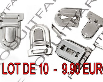 Set of 10 frame satchel bag clip Chrome 25 * 33 mm