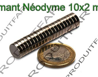 Set of 10 round NdFeB neodymium magnet very powerful Magnet Fimo Scrapbooking 10x2mm