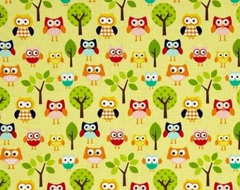 Yellow OWL fabric by Riley Blake