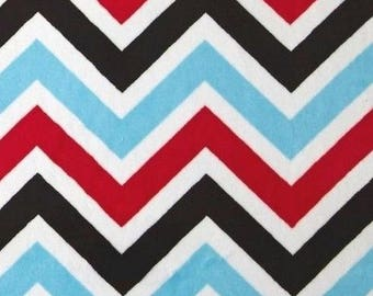 Black chevron red white blue Kaufman to coupon minky fabric