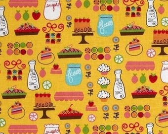 Everything nice cakes Kaufman yellow patchwork fabric