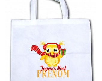 "PERSONALIZED tote bag/tote bag ""Little OWL Christmas"""