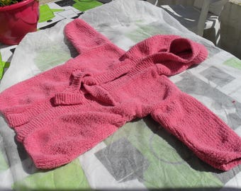 Knitted baby hooded bathrobe size 12 months