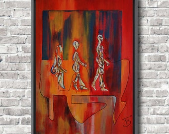 Large Art Deco painting Original acrylic painting Figurative art Contemporary Art in home Wall art Fine Art by Florence Bretécher