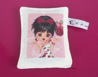 Lavender sachet in tissue with image girl