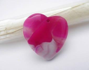 Pendentif forme coeur symétrique en agate teintée LIK-217