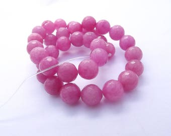 dyed jade faceted 10 mm KOAST 213 36 round beads