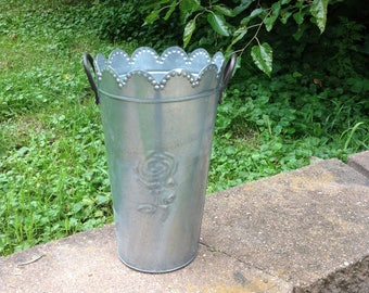 Galvanized French Rose Bucket