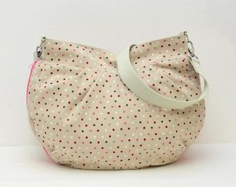 Shoulder bag, Hobo bag, handbag, shoulder bag, cloth bag, fabric, patterned points