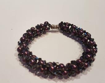 Amethyst pearls and swarovski crystal bracelet