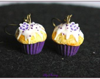 Earring dangle purple flower cupcake Fimo polymer clay