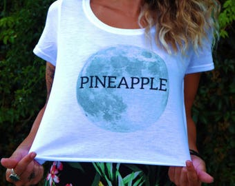 gift for her, crop top, womens crop top, pineapple t shirt, moon t shirt, surfers top, surfers,
