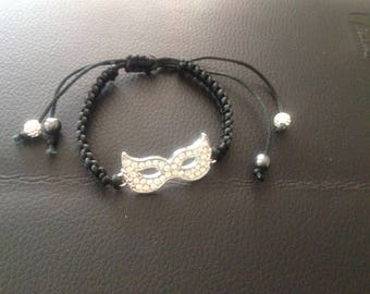 Black bracelet with symbol mask rhinestone