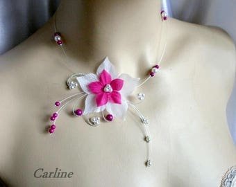 Bridal necklace - Wool - silk and beads Fuchsia and white flower