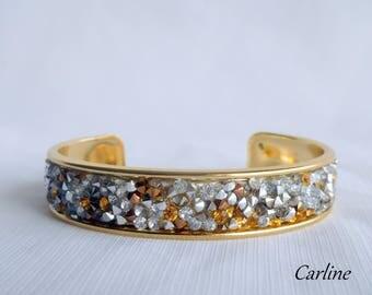 Bracelet woman Bangle Bracelet brass, Golden Orange Medium crystals slave