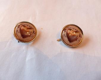 Set of 2 ties Paris heart screw metal silver