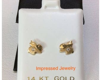 14k Yellow Real Gold Children's Cubic Zirconia Bunny Rabbit Safety Stud screw Earring