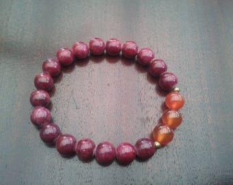 Masham Jade and carnelian (8 mm beads) bracelet