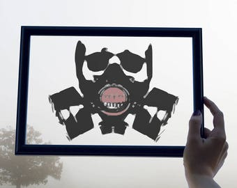 Gas Mask Wall Art, Mask Wall Decor, Post Apocalyptic Art, Post Apocalyptic Print, FrameaLuna, Modern Art, Floating Frame, Transparent Art