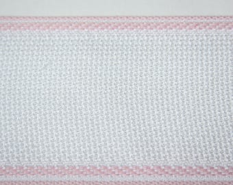Ribbon canvas Aida white/pink 5 cm x 1 meter
