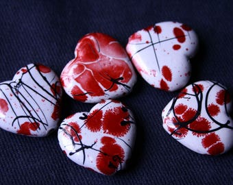 Set 5 bead hearts acrylic Inkblot red 2 cm