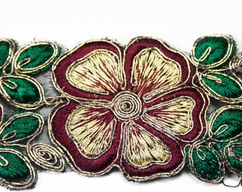 Ribbon Indian Floral Burgundy Green Gold 4.7 cm x 50 cm