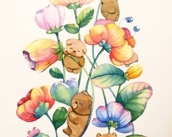 Flower and friends,illustrations watercolor painting on paper,original artwork size A4.
