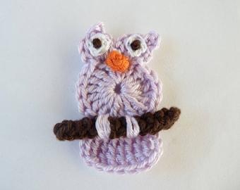 OWL, owl, purple owl - applique crochet
