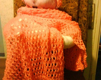 salmon pink color acrylic woolen shawl