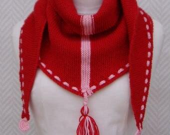 Scarf / shawl scarf, wool knitted orange Nasturtium hand