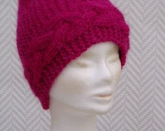 "Beanie, hat, pink hand knitted wool ""Fuschia"""