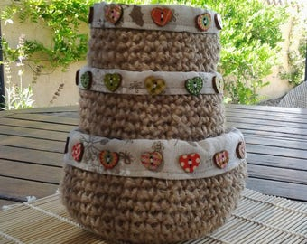 Set of three baskets fabric jute cord flax and wooden buttons