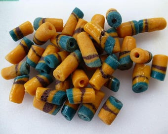Cappadocia with bicycle origin Africa 19 mm set of 5 pcs recycled glass tube beads