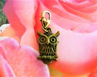 OWL charm charm lucky bronze clasp hook heart PL 146 2
