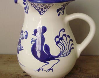 Vintage German ceramic jug with rooster pattern,blue and white,handmade