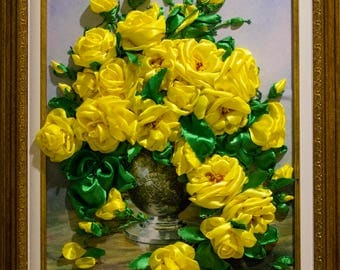 Ribbon embroidered Roses, Picture of summer, Beauty of flowering