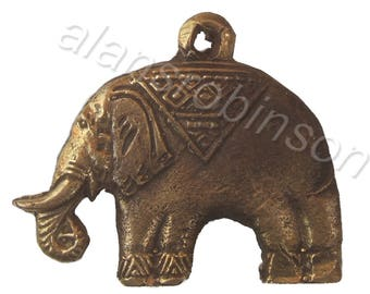 Brass elephant pendant on chord necklace, elephant necklace, animal necklace