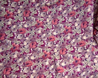 Fabric enEtamine Mini-fleurs purple pink Mauve yarn * 1.20 m square * France 1974
