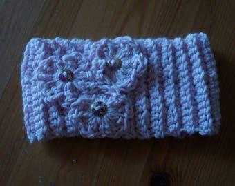 Pink ear warmer, acrylic wool blend