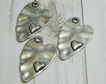 2pcs - 38x24mm - Heart Pendant - Hammered Pendant - Silver Pendants - Metal Pendant - Love Pendant - Heart Charm - (B241)